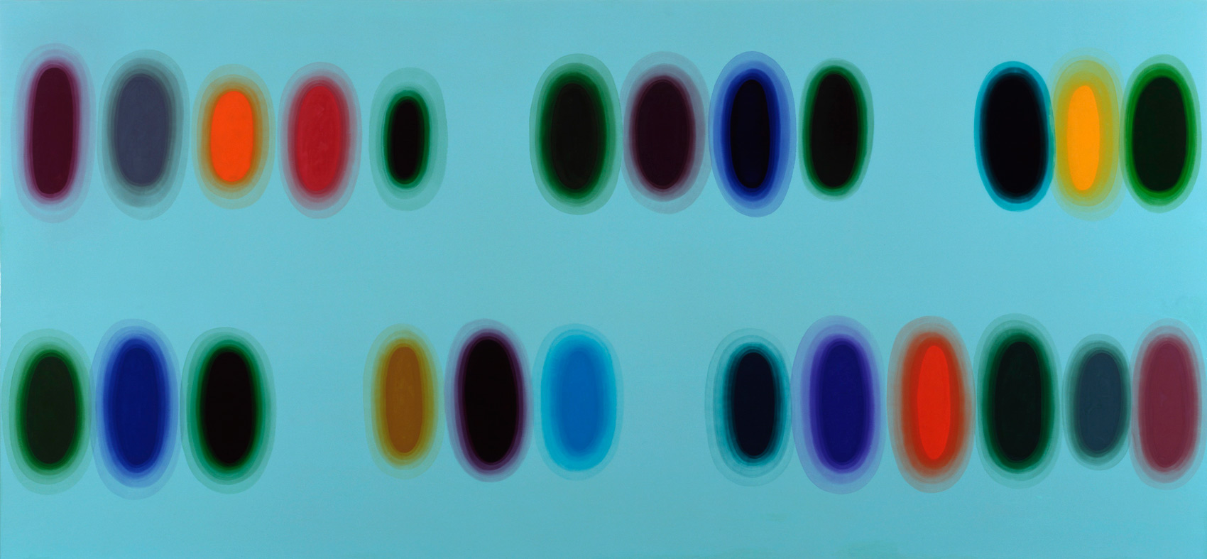 Genetic, 2002, alkyde sur Dibond, 100 x 200 cm