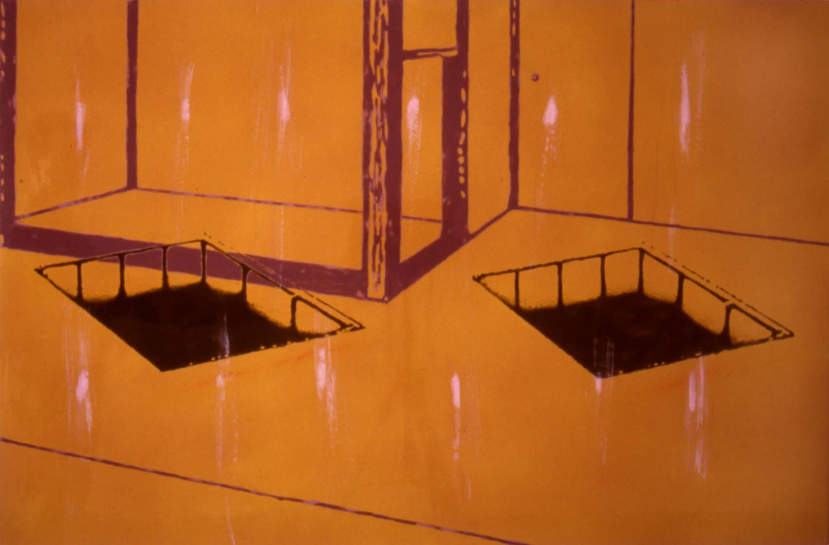 Intérieur, 1998, peinture alkyde sur Aerolam, 81  x 122 cm