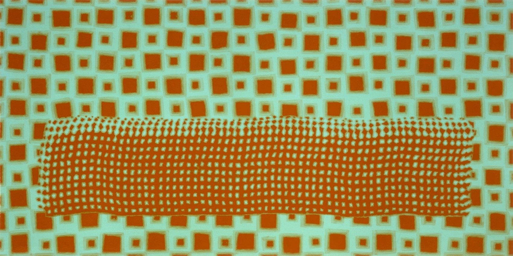 lit, 1998, peinture alkyde sur Aerolam, 123 x 247 cm
