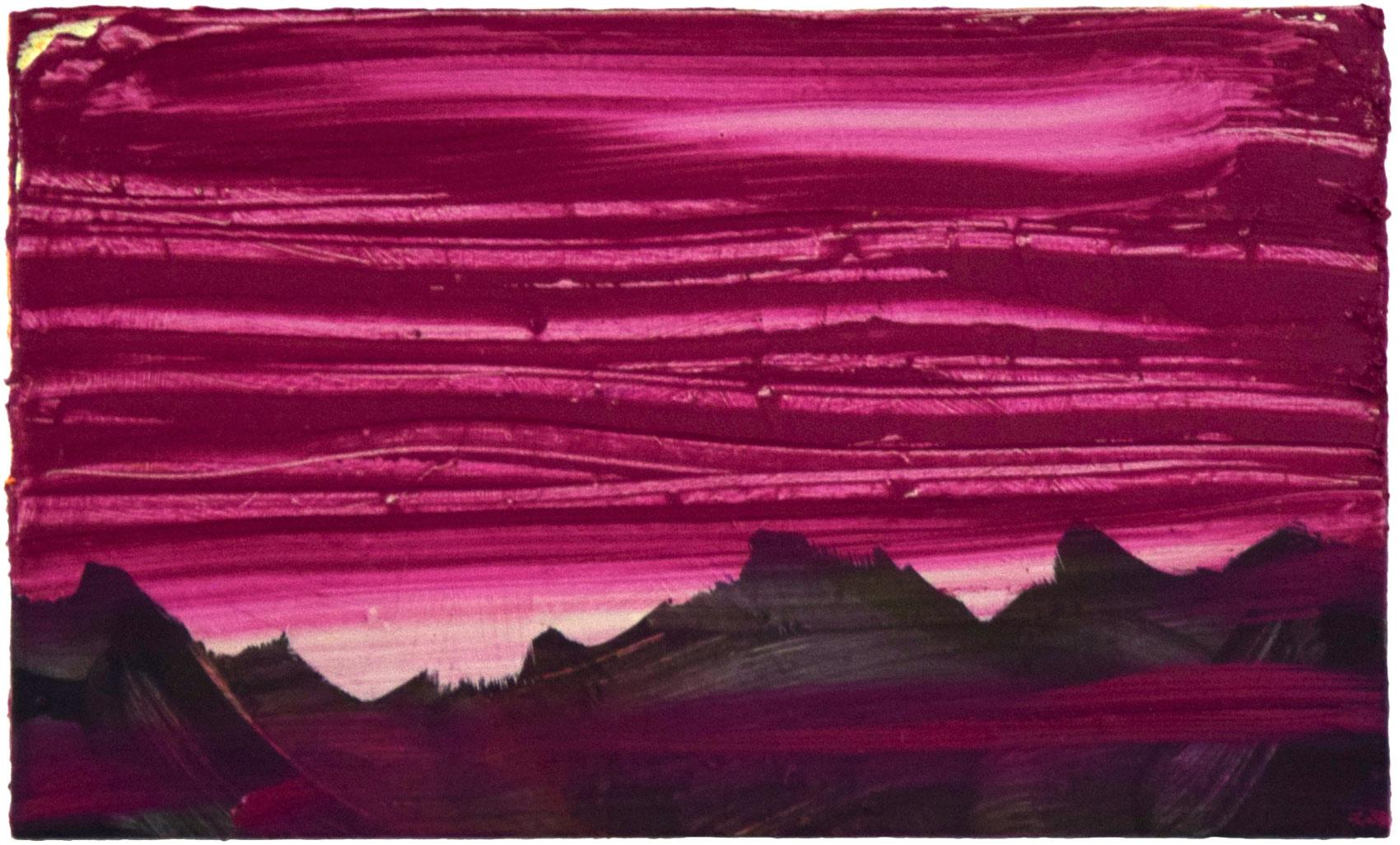 Paysage, 2015, peinture acrylique et huile sur bois, 30 x 50 cm