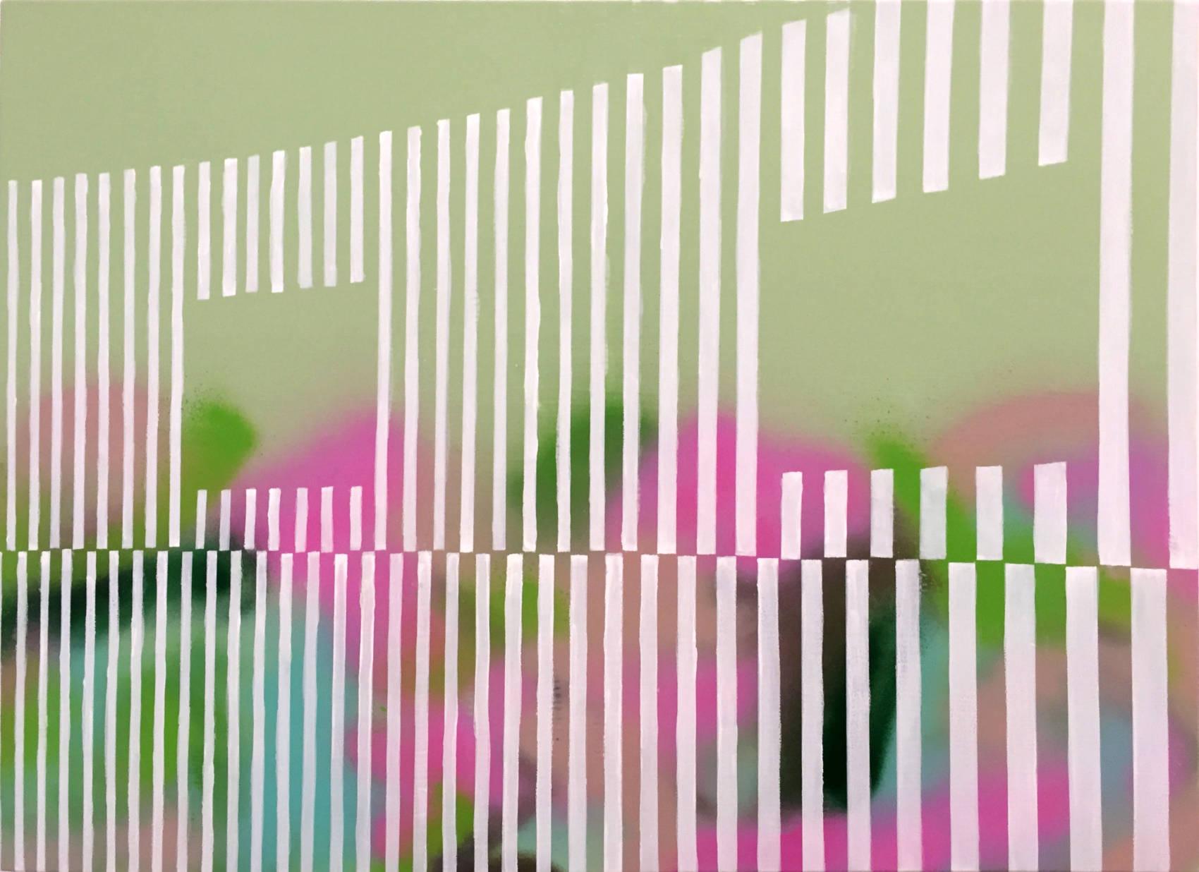 Landscape data mapping 3, 2018, Peinture acrylique sur bois, 50 x 70 cm