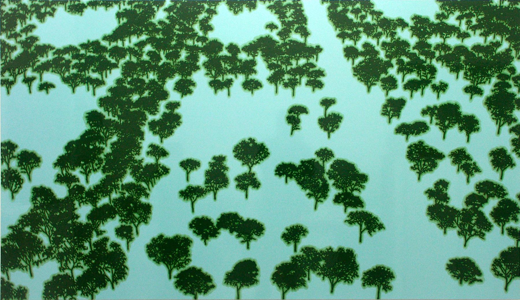 artificial landscape, 2002, peinture alkyde sur dibond, 112 x 220 cm