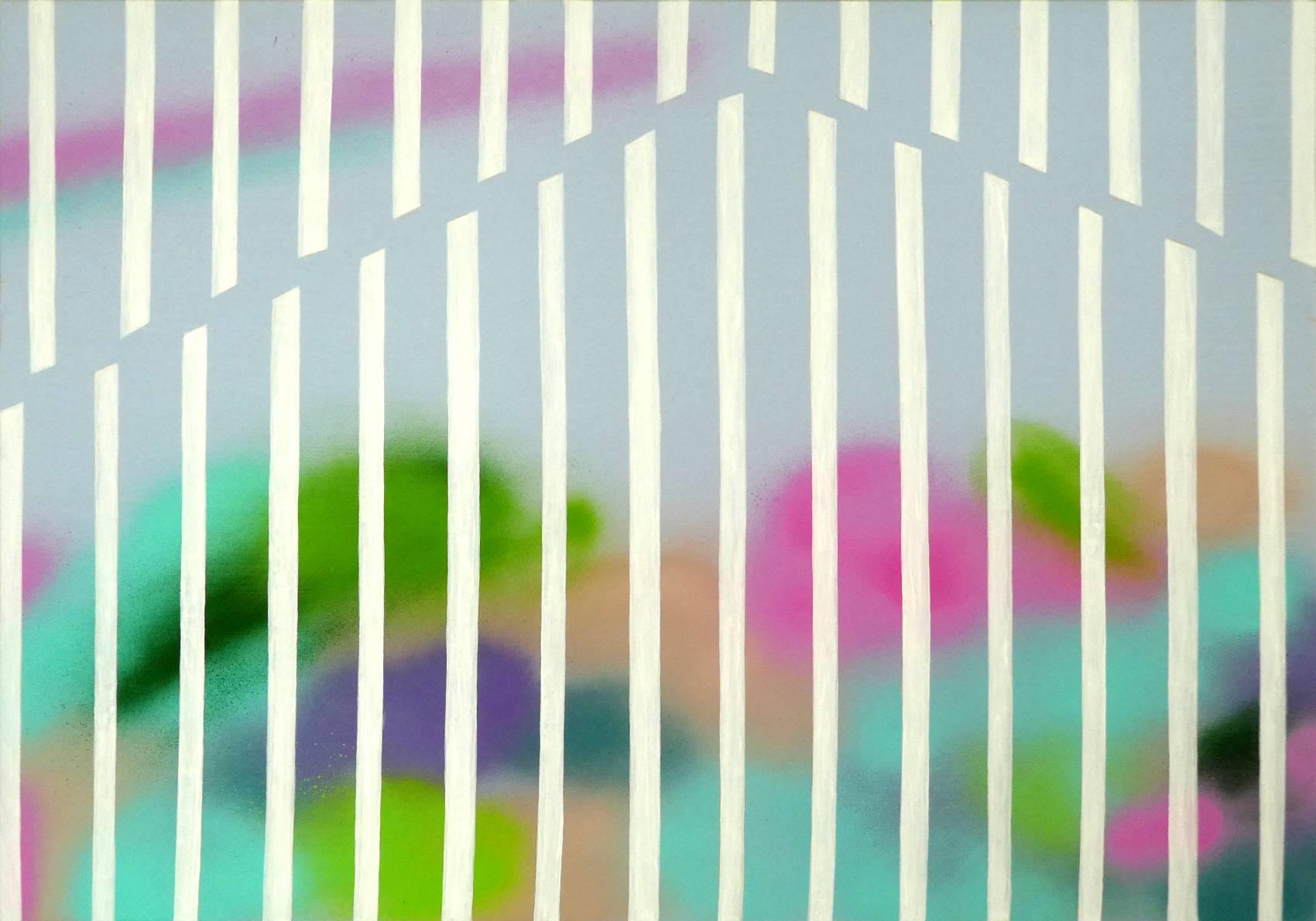 Landscape data mapping 2, 2018, Peinture acrylique sur bois, 50 x 70 cm