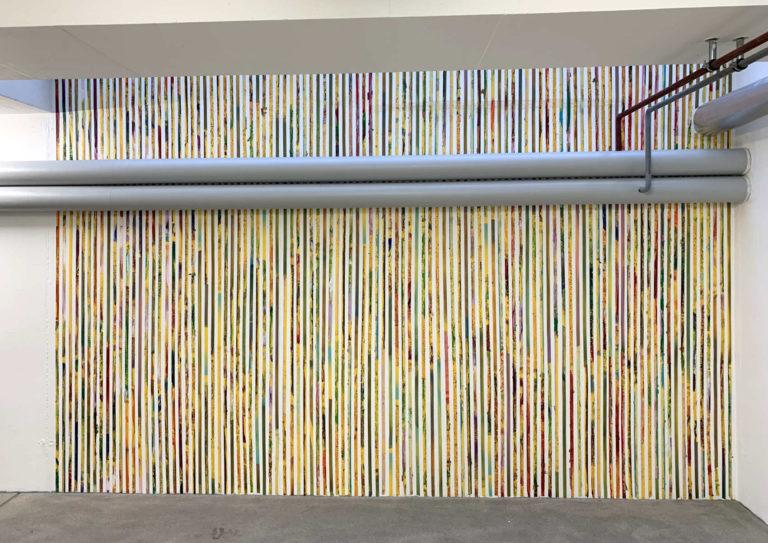 Installation,  ruban adhésif, peinture acrylique, 2019, Club d'Art Contemporain, Lausanne