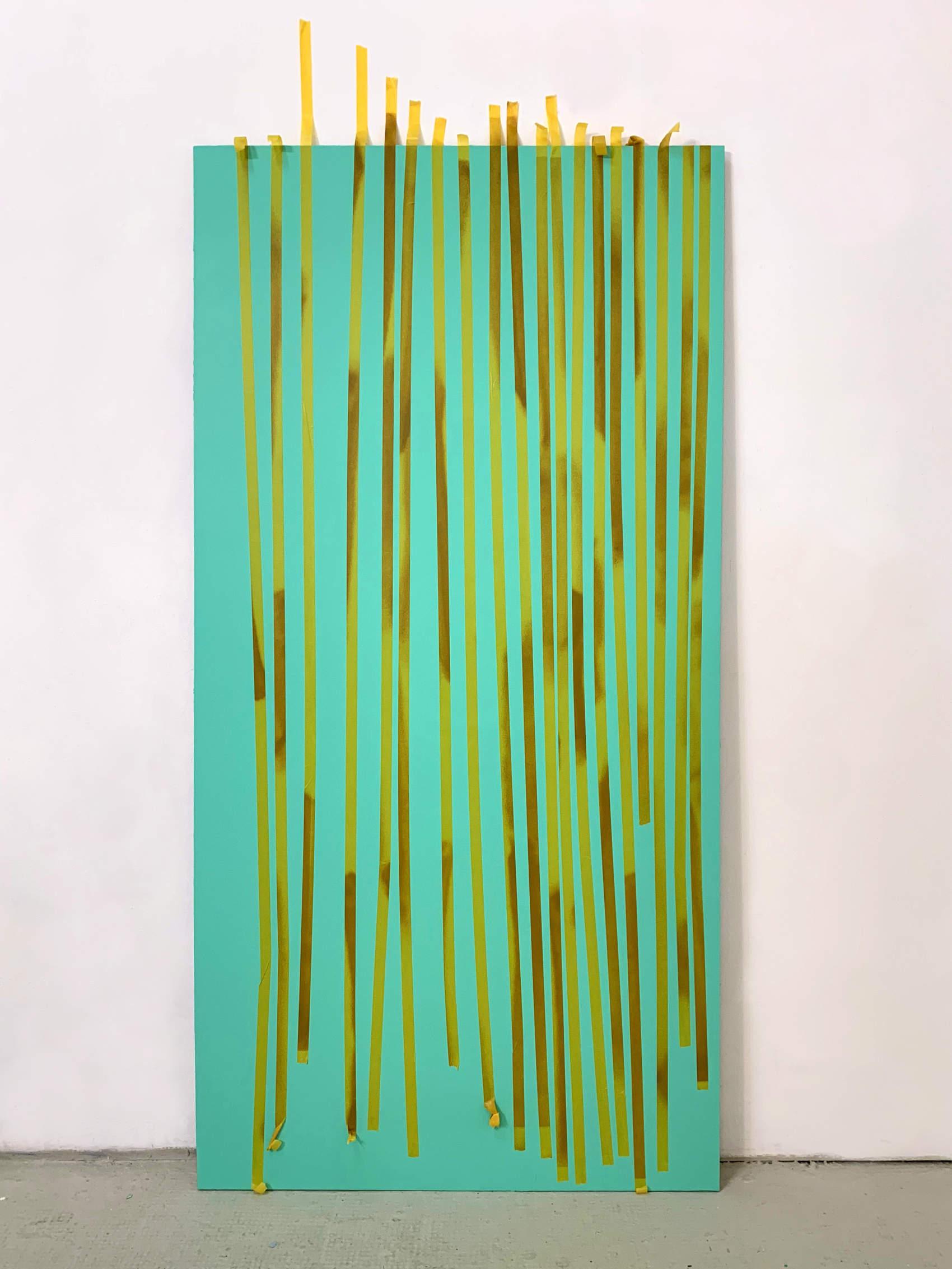Sans titre, 2019, peinture acrylique et ruban adhésif sur Dibond, 200 x 100 cm