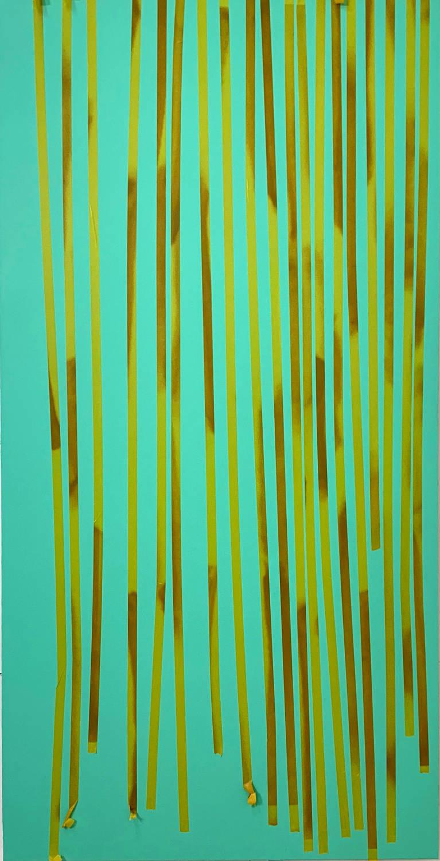 Sans titre, 2018, peinture acrylique et ruban adhésif sur Dibond, 200 x 100 cm