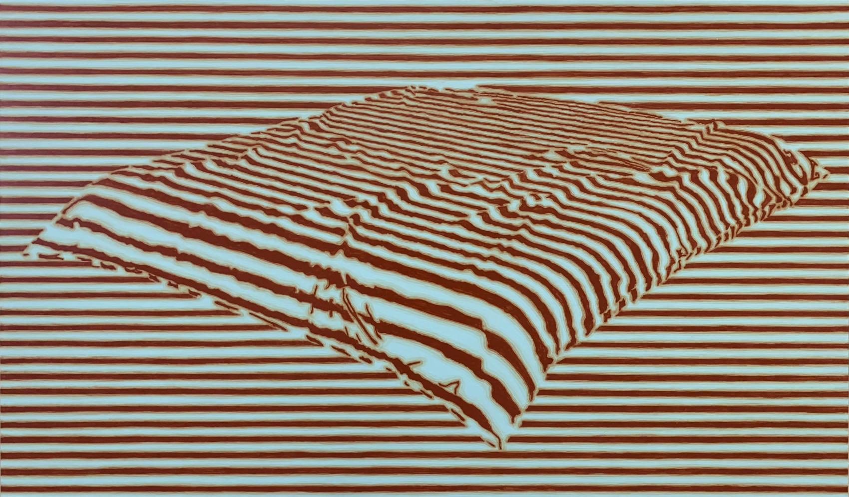 Couverture 2, 2019, peinture acrylique sur Corapan, 73 x 123 cm